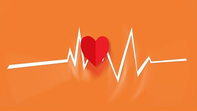 גרף קצב לב עם תמונה של לב