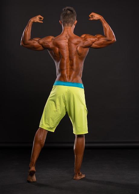 גבר שרירי עם הגב למצלמה